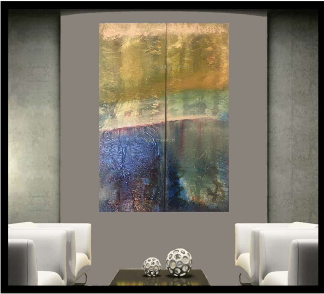 NEW RELEASE !! Contemporary Art 2e above Sofa by Artist Todd Krasovetz Interior image