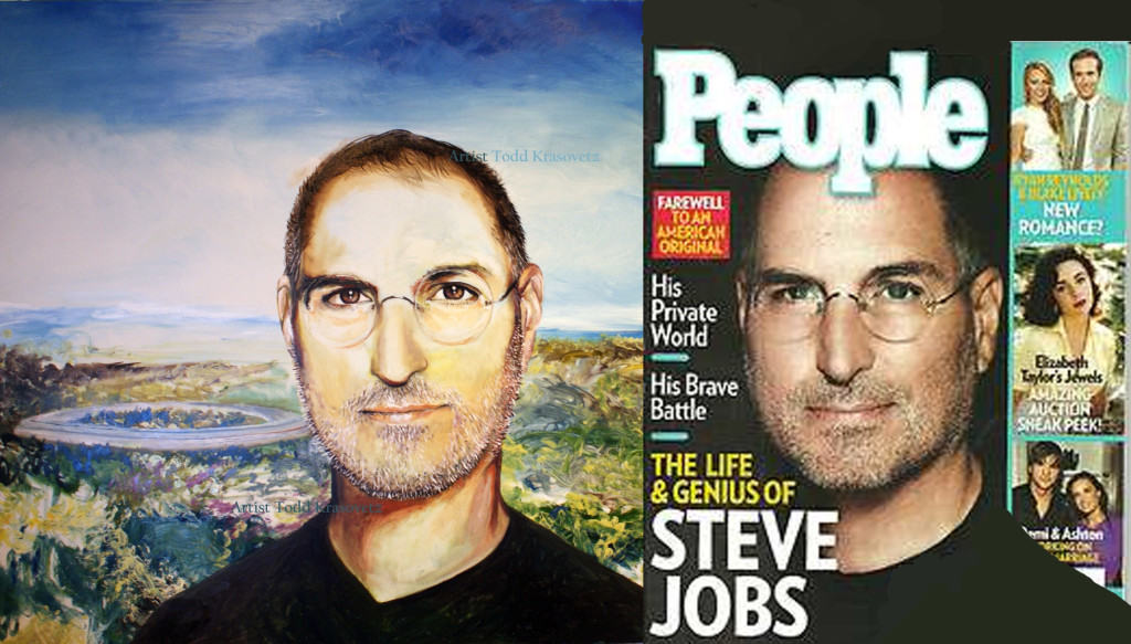 Oil Portrait from Photo by Artist Todd Krasovetz Steve Jobs Original Oil Painting 4 x 4 5 feet watermarked