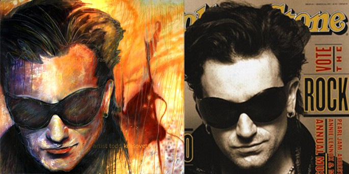Bono art by Todd Krasovetz side by side 4 x 4 feet Acrylic